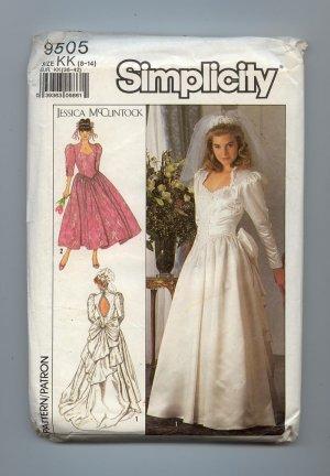 ***SOLD***1989 Uncut Simplicity 9505 Wedding Dress Pattern Jessica McClintock Petite  Patterns