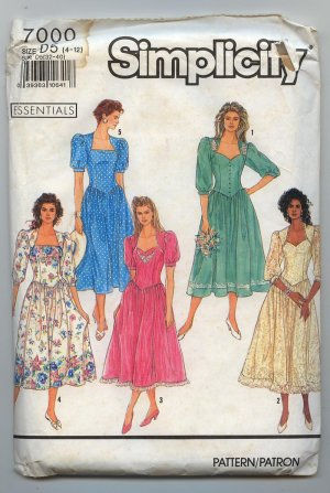 1990 Uncut Simplicity  7000 Dress Pattern  14 pcs Patterns SZ D5 4-12