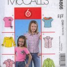 McCall's M4866 girl's Pattern Size CHH 7-8-10-12 girls top