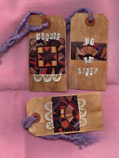 OOAK Gift Tags Scrapbooking ~ Fabric of our Lives ~  Made by me in the USA
