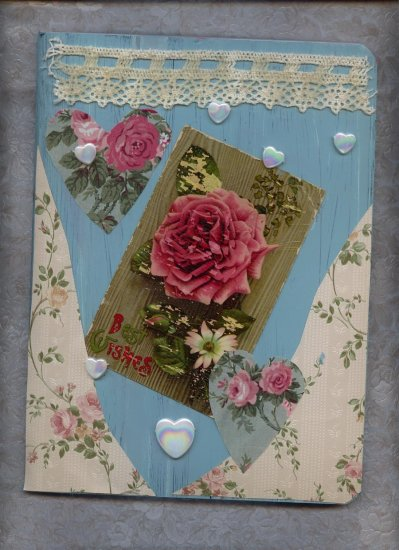 Altered Composition Journal OOAK Vintage Rose Postcard Journals