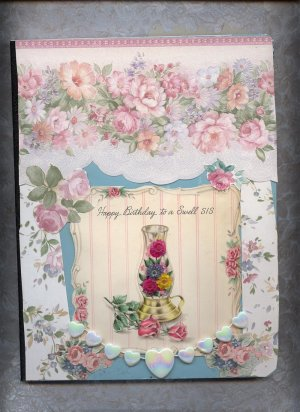 Altered Composition journal OOAK Happy birthday Sis Card Journals