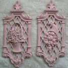 1971 Dart Plaques Ornate Pink Shabby distressed Floral
