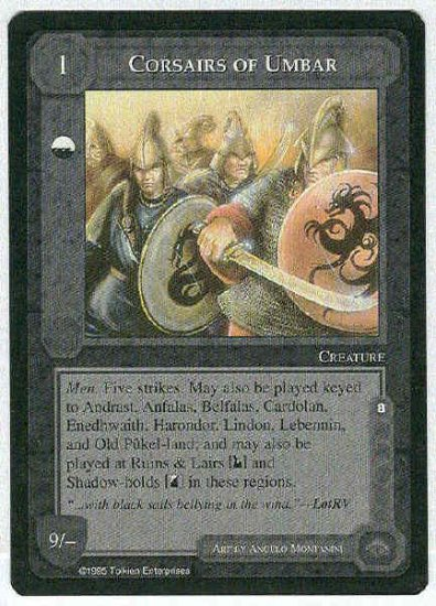 Middle Earth Corsairs Of Umbar Uncommon Game Card