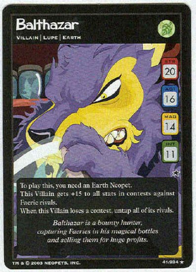 Neopets CCG Base Set #41 Balthazar Rare Game Card