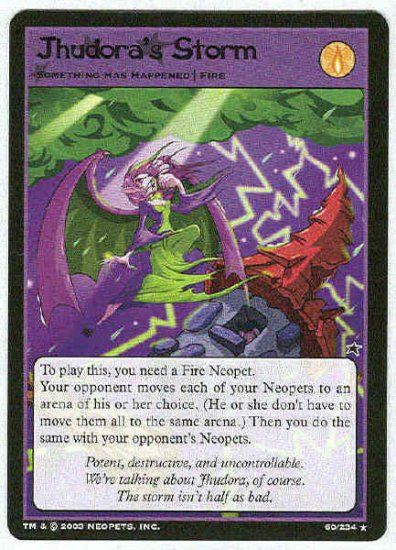 Neopets CCG Base Set #60 Jhudora's Storm Rare Game Card