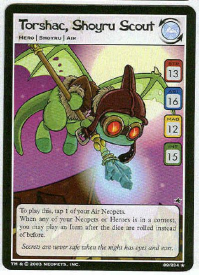 Neopets CCG Base Set #89 Torshac Shoyru Scout Rare Card