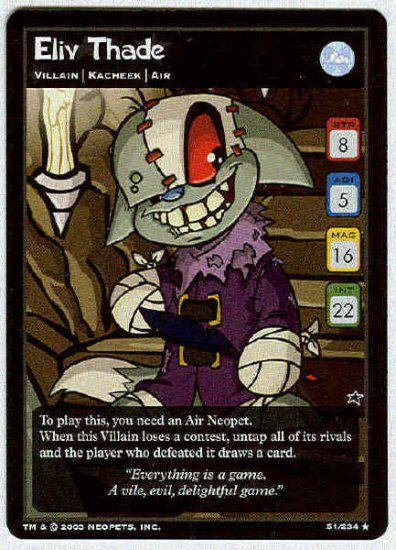 Neopets CCG Base Set #51 Eliv Thade Rare Game Card