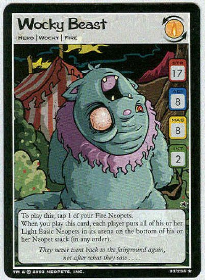 Neopets CCG Base Set #93 Wocky Beast Rare Game Card