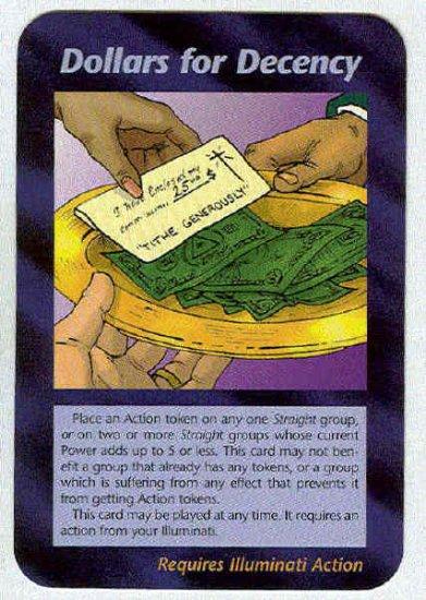 Illuminati Dollars For Decency New World Order Game Card