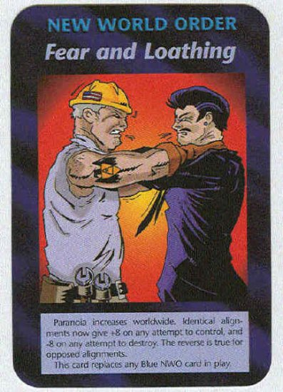 Illuminati Fear And Loathing New World Order Game Card