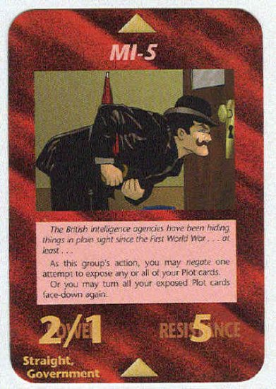 Illuminati MI-5 New World Order Game Trading Card