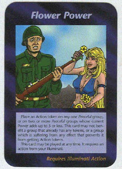 Illuminati Flower Power New World Order Game Trading Card