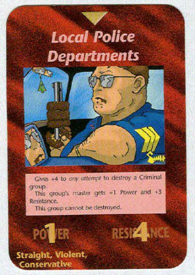 Illuminati Local Police Departments NWO Game Trading Card