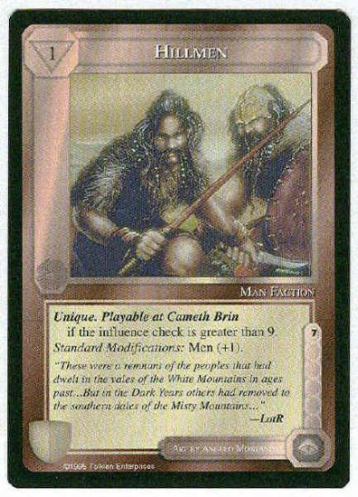Middle Earth Hillmen Wizards Limited Uncommon Game Card