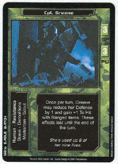 Terminator CCG Cpl. Greene Uncommon Game Card