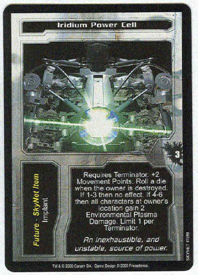 Terminator CCG Iridium Power Cell Uncommon Game Card