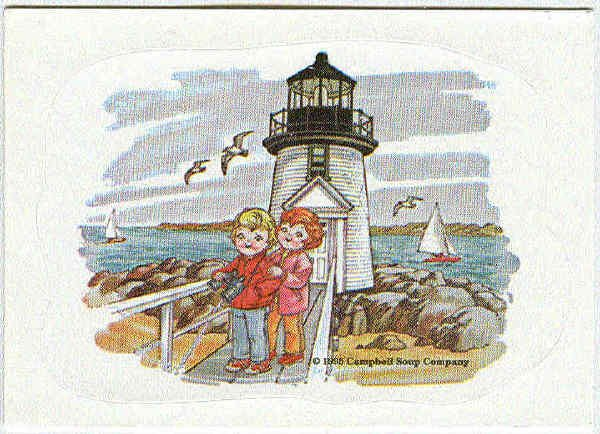 Campbell's 1995 Collection Sticker Card Kids At Lighthouse