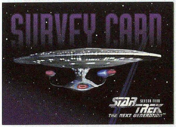 Star Trek The Next Generation Season 4 Survey Card