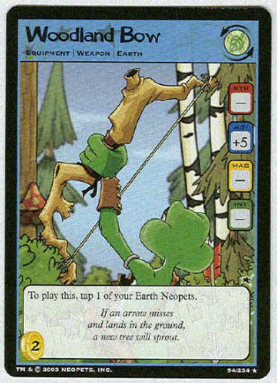 Neopets CCG Base Set #94 Woodland Bow Rare Game Card