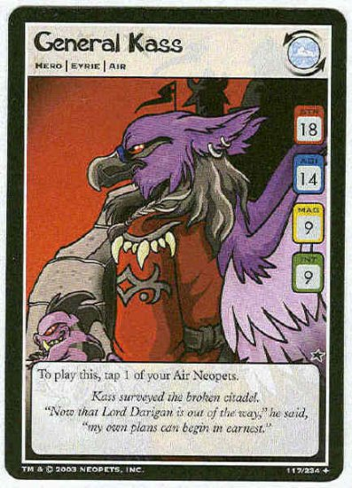 Neopets CCG Base Set #117 General Kass Uncommon Card