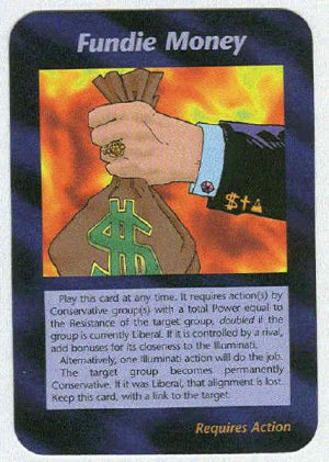 Illuminati Fundie Money New World Order Game Trading Card