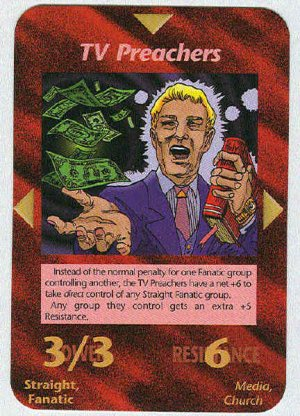 Illuminati TV Preachers New World Order Game Trading Card