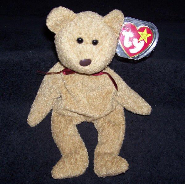 8da04defe3a TY Beanie Baby Curly The Brown Bear Born April 12