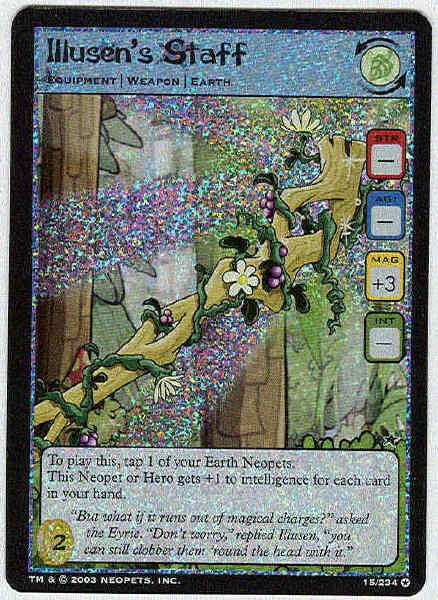Neopets CCG Base Set #15 Illusen's Staff Holo Foil Card