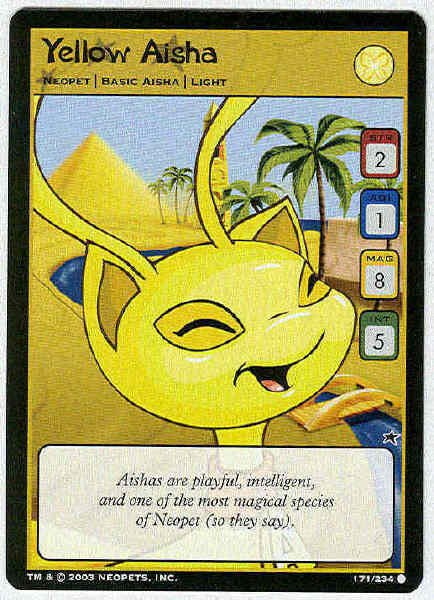 Neopets CCG Base Set #171 Yellow Aisha Game Card