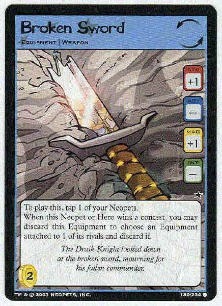 Neopets CCG Base Set #180 Broken Sword Game Card