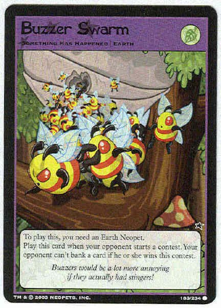 Neopets CCG Base Set #183 Buzzer Swarm Game Card