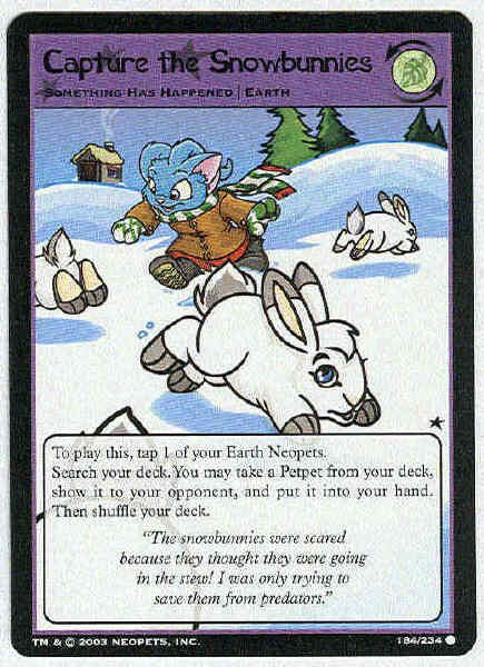 Neopets CCG Base Set #184 Capture The Snowbunnies Card