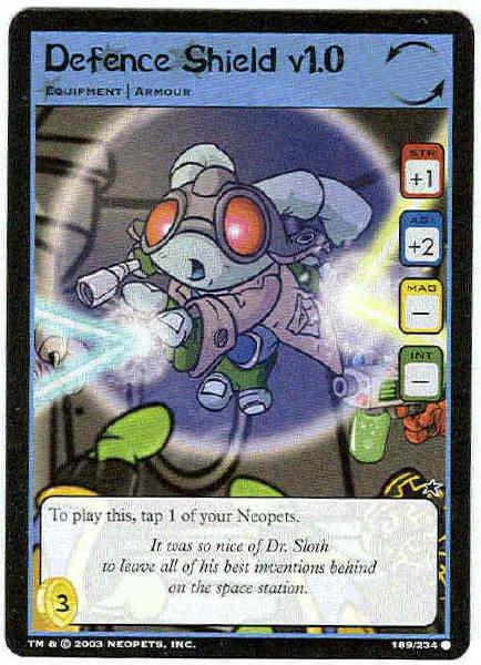Neopets CCG Base Set #189 Defence Shield v1.0 Game Card
