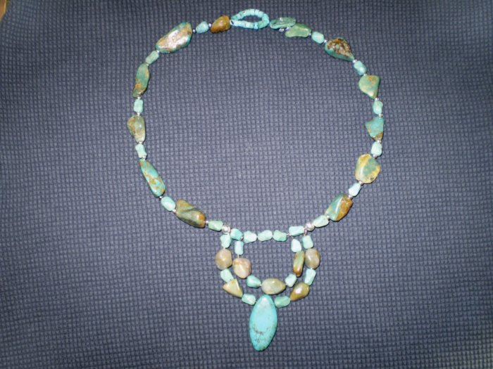 Gorgeous Australian Turquoise Necklace with Double Pendant