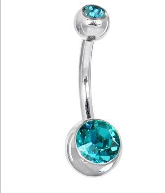Swarovski® Blue Zircon DOUBLE GEM Belly Ring