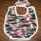 Green Pink White crochet baby bib
