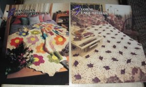 Floral Lace and Grandma's Flower Garden afghan Annies Attic Crochet pattern