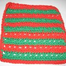 Red and green Christmas Crochet Dish Cloth