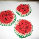 3 crochet scrubbies watermelon pot scrubbers