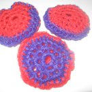 3 crochet scrubbie red hat pot scrubbers