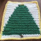 Christmas Crochet Tree dish cloth White background