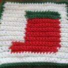 Christmas Crochet Sock dish cloth