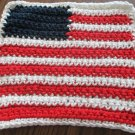 Crochet United States flag dish cloth