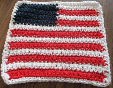 Crochet United States flag dish cloth