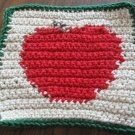 Crochet red apple dish cloth 100% cotton