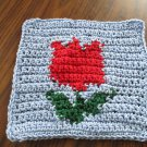 Crochet Red tulip dish cloth 100% cotton