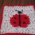 Crochet ladybug dish cloth 100% cotton