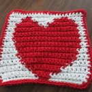 Crochet Valentine Heart dish cloth 100% cotton