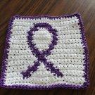 Crochet Cystic Fibrosis ribbon dish cloth
